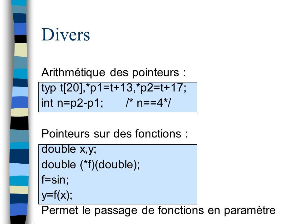 Divers Arithmétique des pointeurs : typ t[20],*p1=t+13,*p2=t+17;